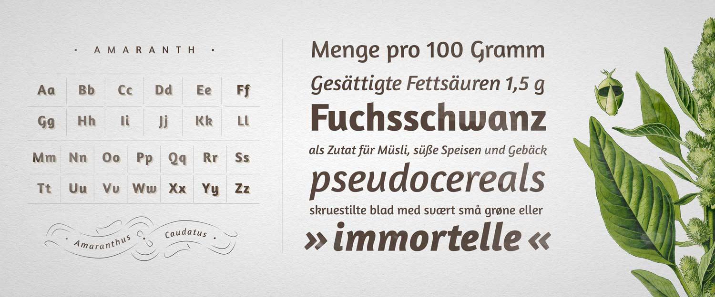 Schriftentwicklung Amaranth Font bei Google Fonts, Typedesign