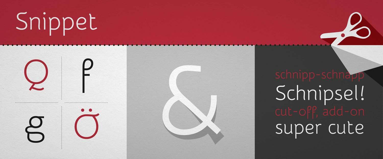 Schriftentwicklung Snippet One bei Google Fonts, Typedesign