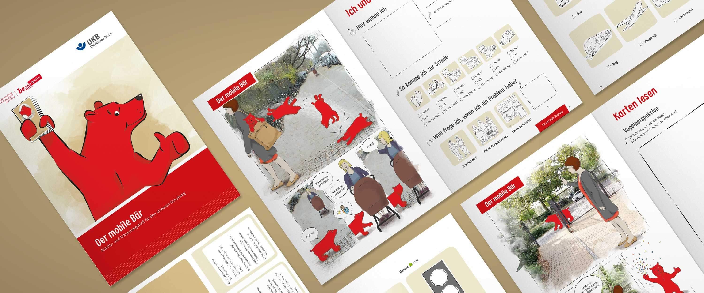 minkadu Unfallkasse Berlin Layout, Konzept, Illustration des Arbeitshefts