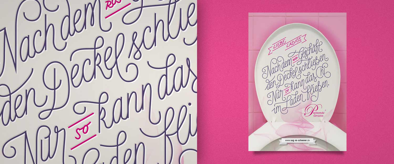 Sag es schöner Karte Motiv für Princess Dreams Brautmoden custom Lettering Illustration