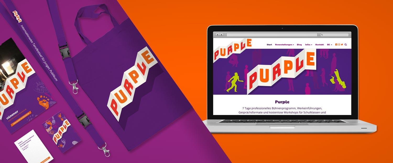 PURPLE Tanzfestival Logo, Website, Werbemittel und Flyer Gestaltung von minkadu Berlin