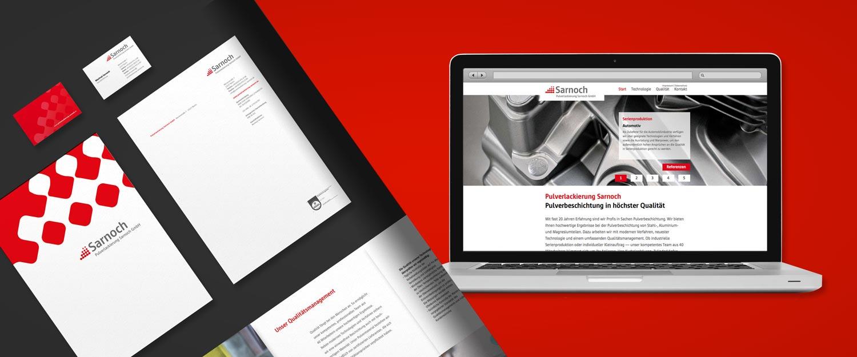 Sarnoch Pulverlackierung Logo, Website, Imagebroschüre, Briefbogen und Visitenkarte Gestaltung von minkadu Berlin