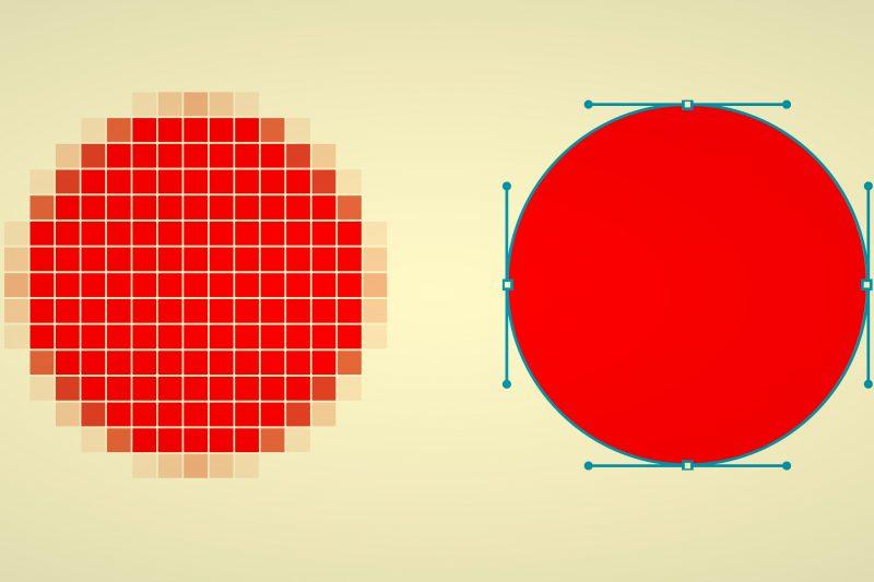 Optischer Unterschied Pixelgrafik versus Vektorgrafik